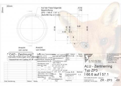 felgenfuchs zentrierringe f r felgen von 66 6mm auf 57. Black Bedroom Furniture Sets. Home Design Ideas